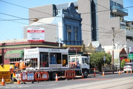 The Abergeldie Watertech crew at work on Lygon Street in Brunswick